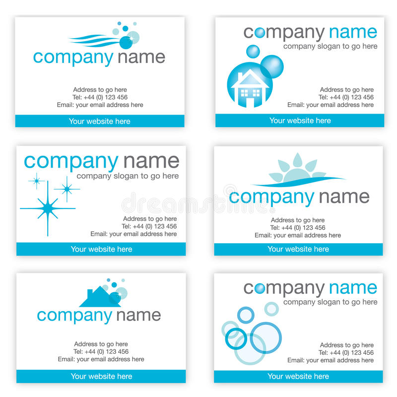 Conjunto de seis tarjetas de visita de limpieza stock de ilustración