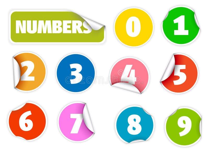 Conjunto de sellos coloridos con números stock de ilustración