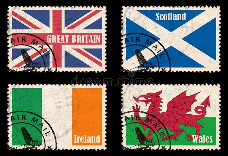 Conjunto de sellos con los indicadores de las islas británicas stock de ilustración