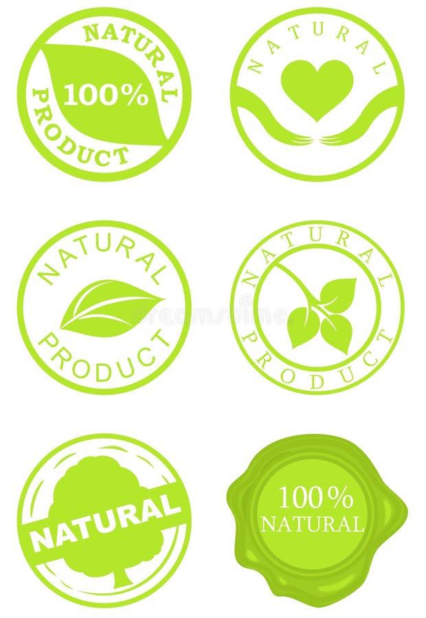 Conjunto de sellos del producto natural stock de ilustración