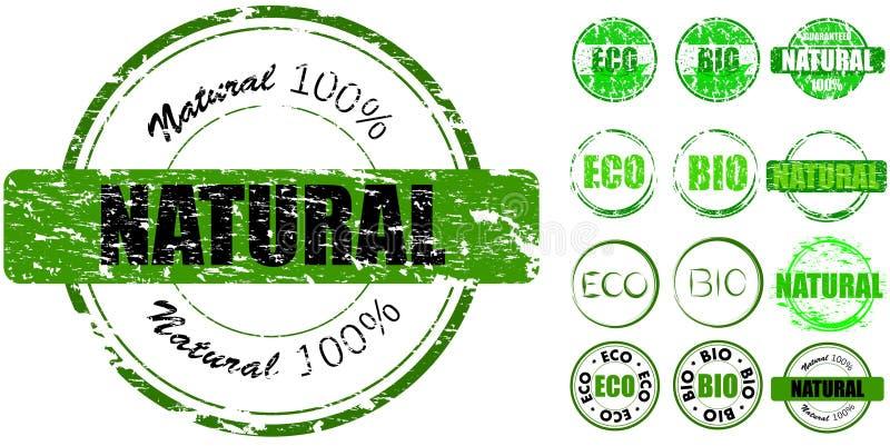 Conjunto de sellos naturales stock de ilustración