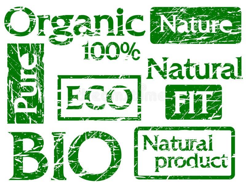 Conjunto de sellos o de escrituras de la etiqueta orgánicos con palabras: bio, f ilustración del vector