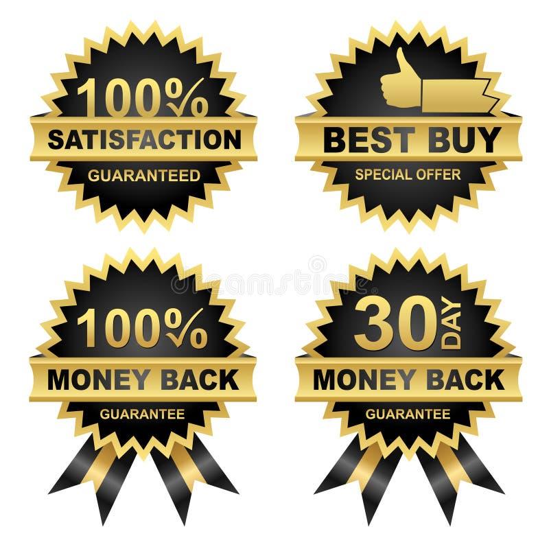 Conjunto de sellos, parte posterior del dinero, satisfacción del vector? ilustración del vector
