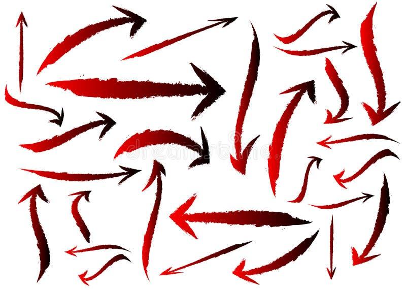 Conjunto de setas diferentes para pincel, ponteiros, isoladas sobre fundo branco objeto de estilo de traçado do pincel de seta pr ilustração do vetor