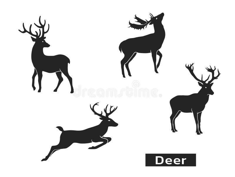 Conjunto de silhuetas de veados Elementos de concepção de Natal Símbolos de Natal Imagem vetorial isolada do animal ilustração royalty free