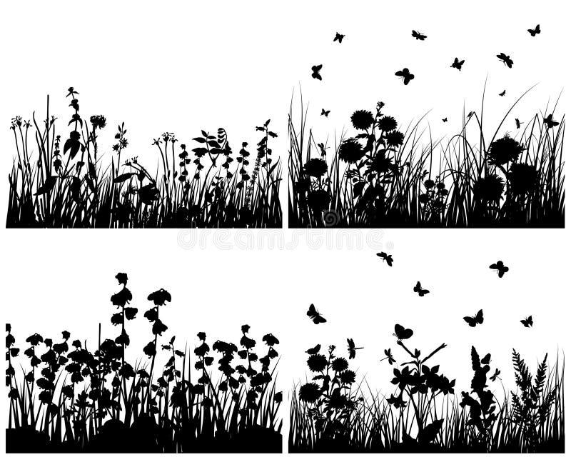 Conjunto de siluetas de la hierba stock de ilustración
