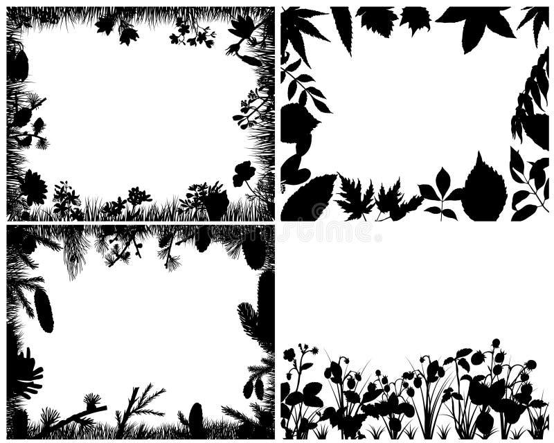 Conjunto de siluetas de la hierba ilustración del vector