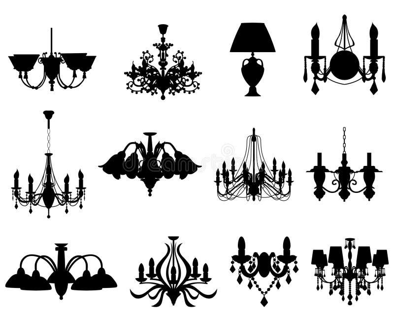 Conjunto de siluetas de las lámparas stock de ilustración