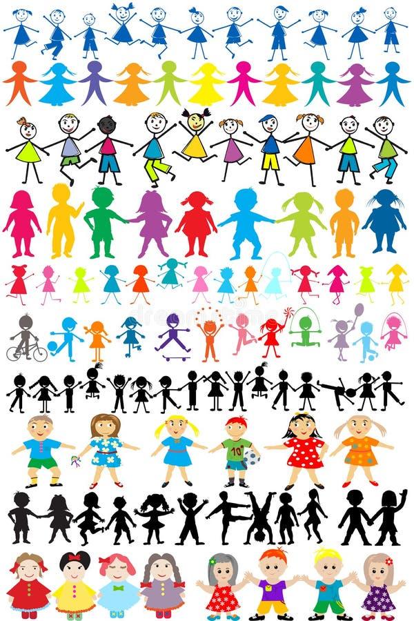 Conjunto de siluetas diversas y de los niños ilustración del vector