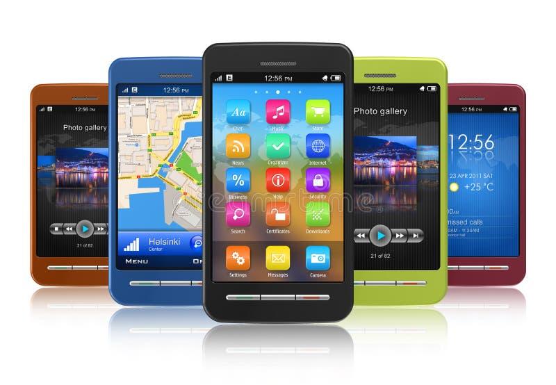 Conjunto de smartphones de la pantalla táctil ilustración del vector