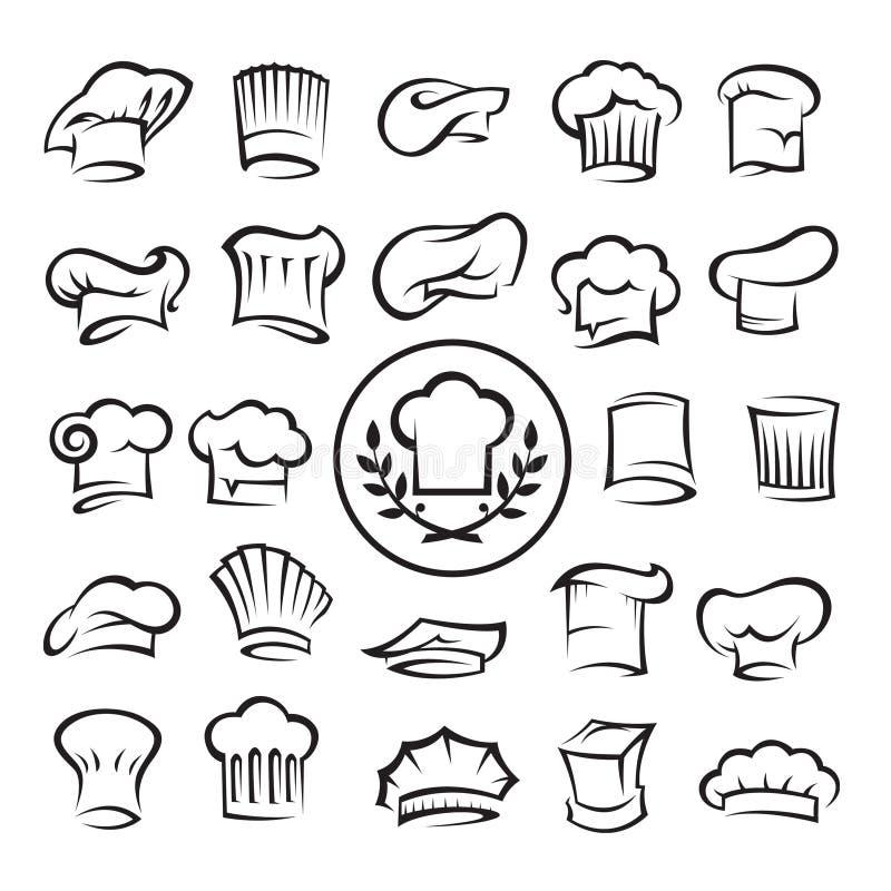 Conjunto de sombreros del cocinero stock de ilustración