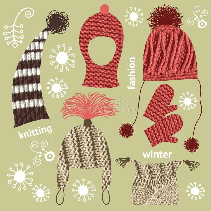 Conjunto de sombreros hechos punto libre illustration