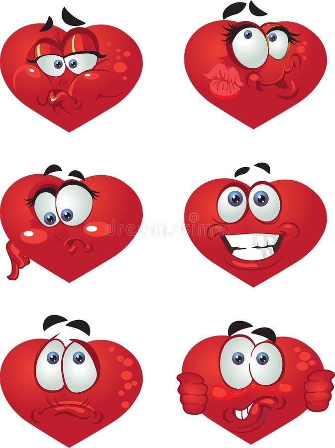 Conjunto de sonrisas del corazón de la marimacho stock de ilustración