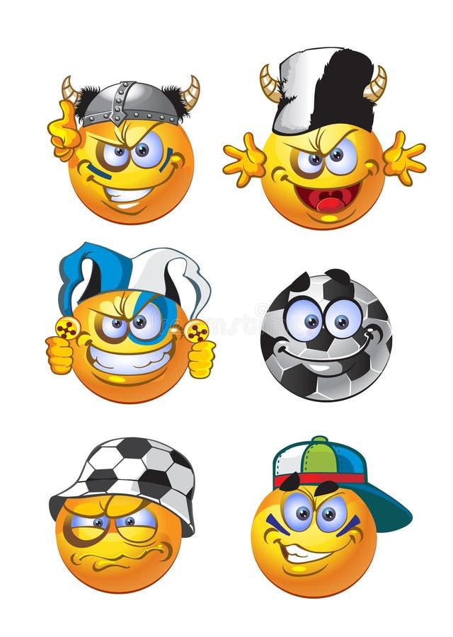 Conjunto de sonrisas redondas del balompié del tratamiento por lotes libre illustration