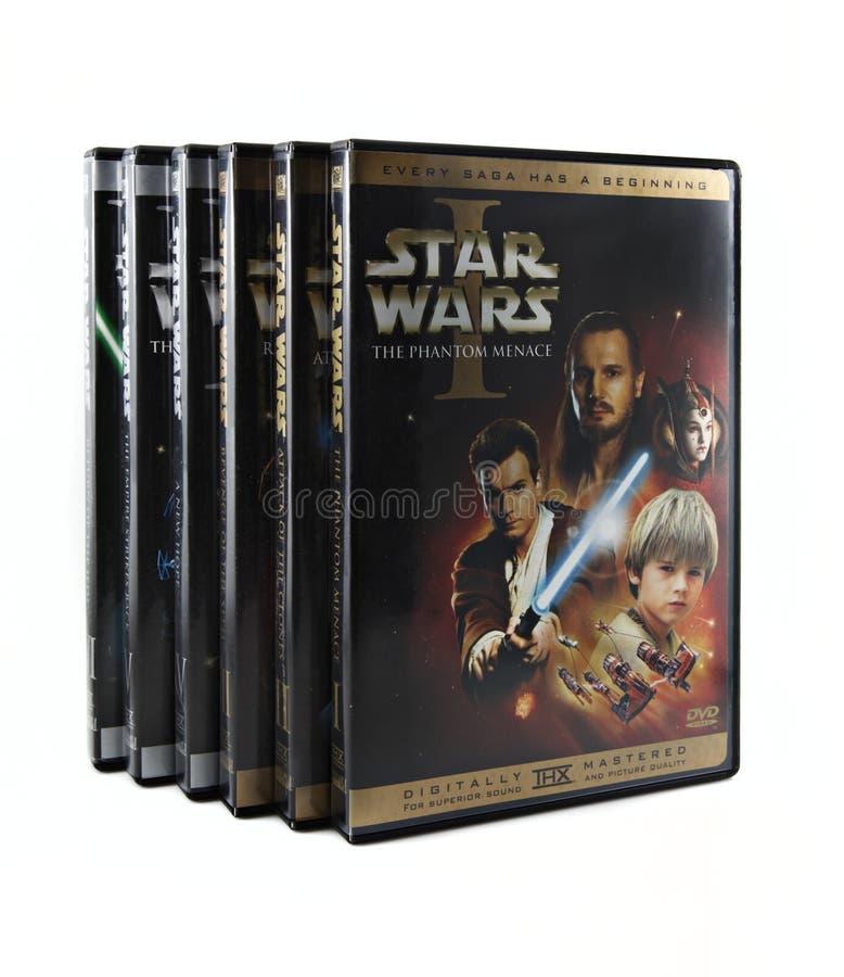 Conjunto de Star Wars DVD imagenes de archivo