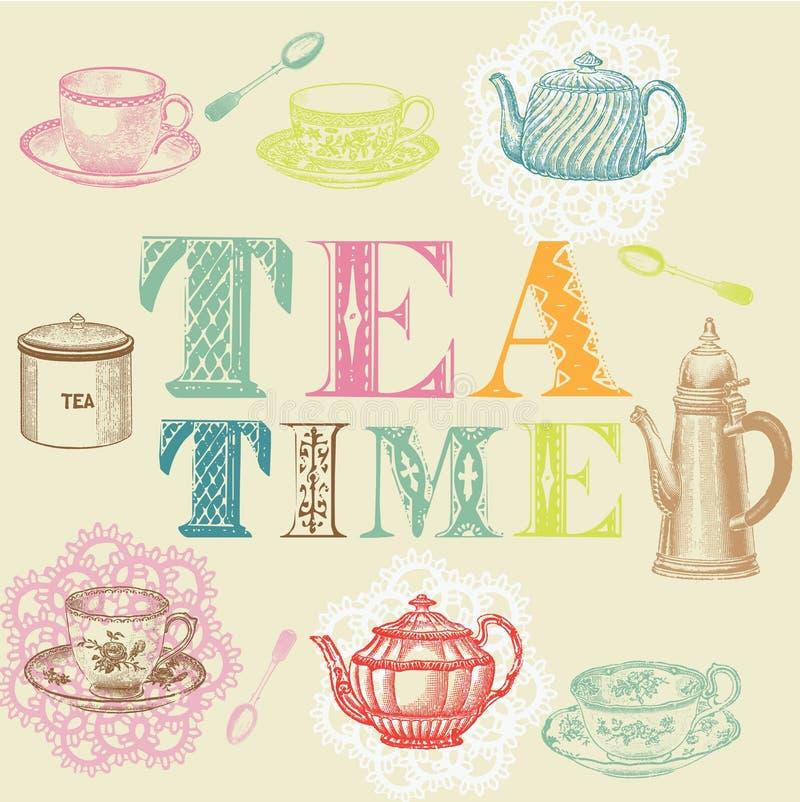 Conjunto de té stock de ilustración