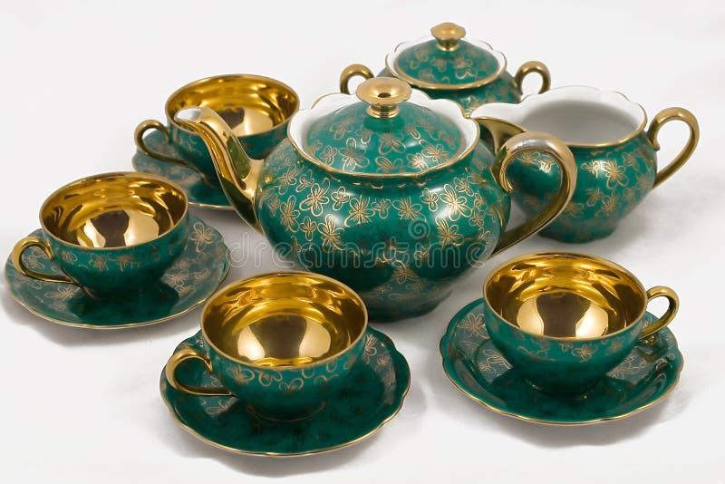 Conjunto de té antiguo de la porcelana foto de archivo