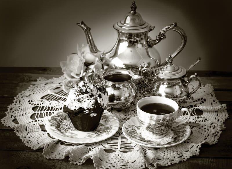 Conjunto de té de plata imagenes de archivo