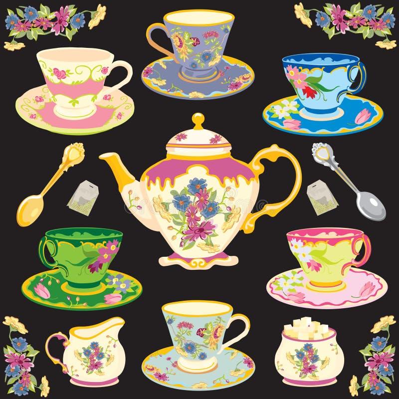 Conjunto de té del Victorian ilustración del vector
