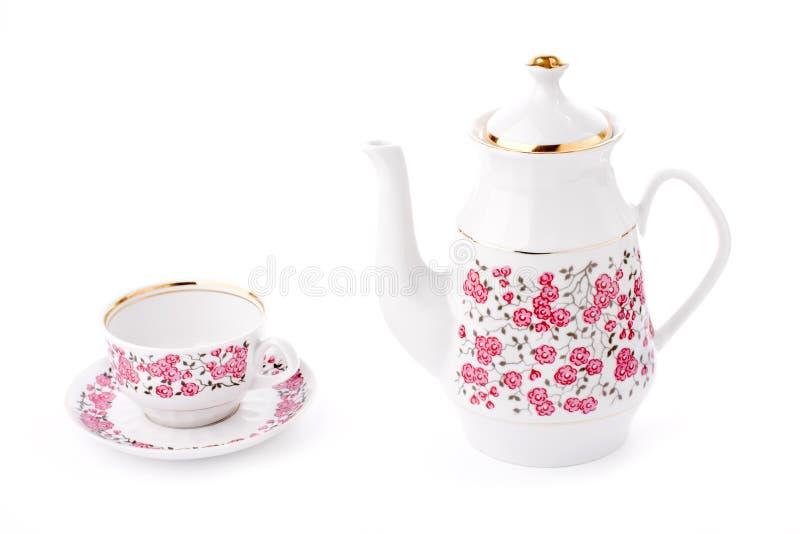Conjunto de té elegante de la porcelana fotos de archivo libres de regalías