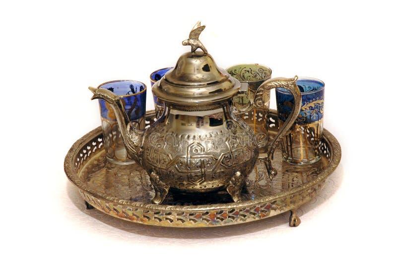 Conjunto de té marroquí de la menta imagen de archivo libre de regalías