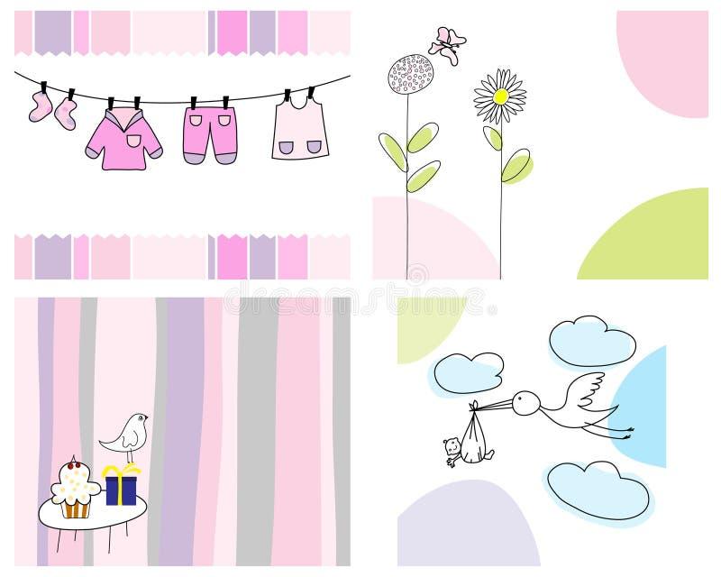 Conjunto de tarjetas de felicitación libre illustration