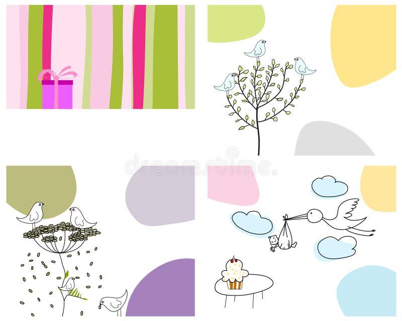 Conjunto de tarjetas de felicitación stock de ilustración