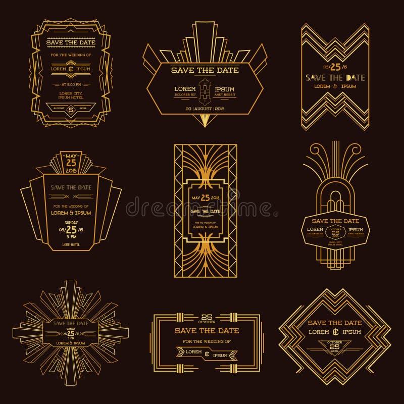 Conjunto de tarjetas de la invitación de la boda libre illustration