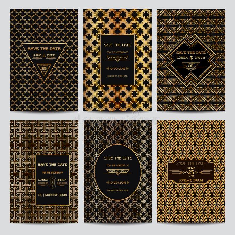 Conjunto de tarjetas de la invitación de la boda stock de ilustración