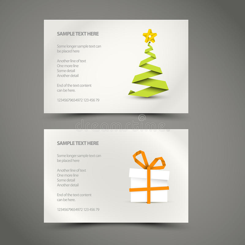 Conjunto de tarjetas de Navidad simples stock de ilustración