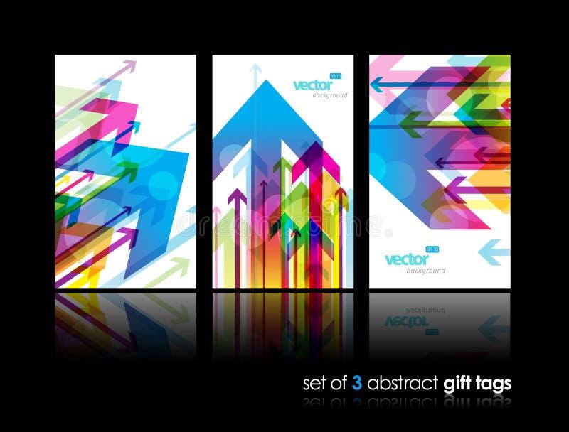 Conjunto de tarjetas del regalo con las flechas. ilustración del vector