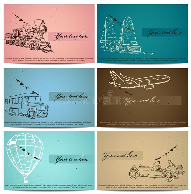 Conjunto de tarjetas del transporte del vintage. ilustración del vector
