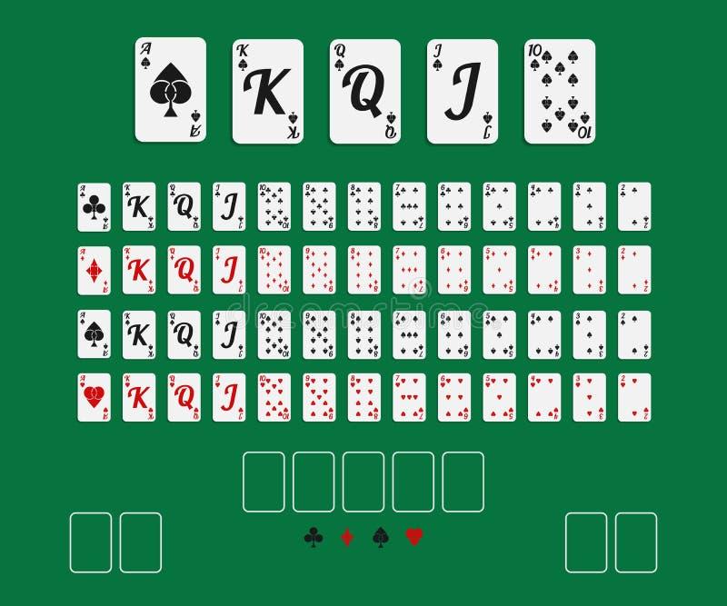 Conjunto de tarjetas que juegan ilustración del vector