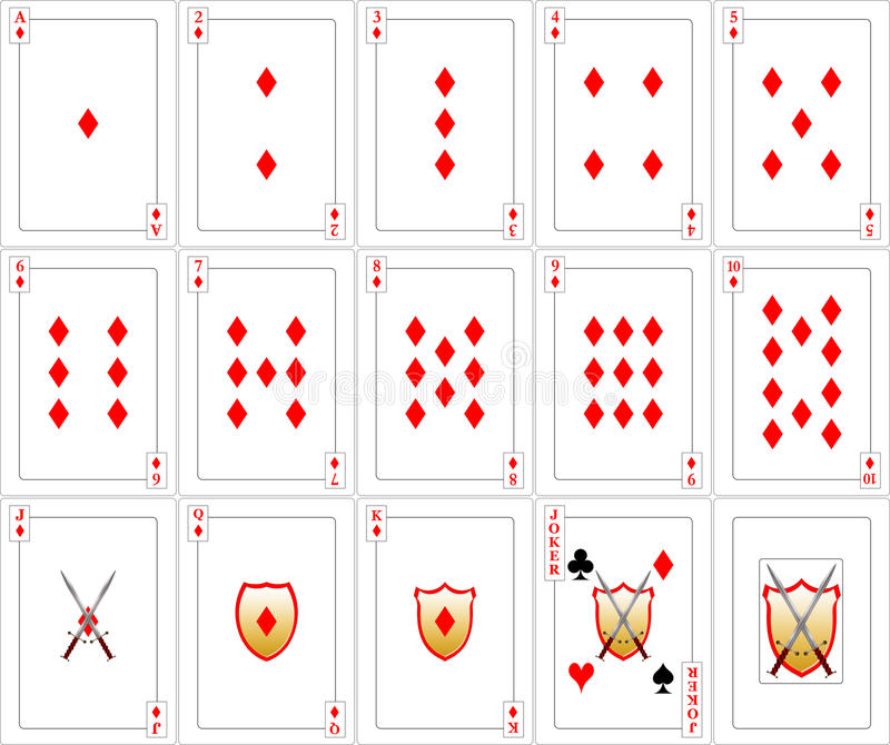 Conjunto de tarjetas que juegan - diamantes fotos de archivo