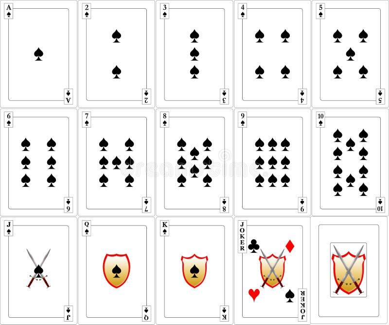 Conjunto de tarjetas que juegan - espadas imagen de archivo