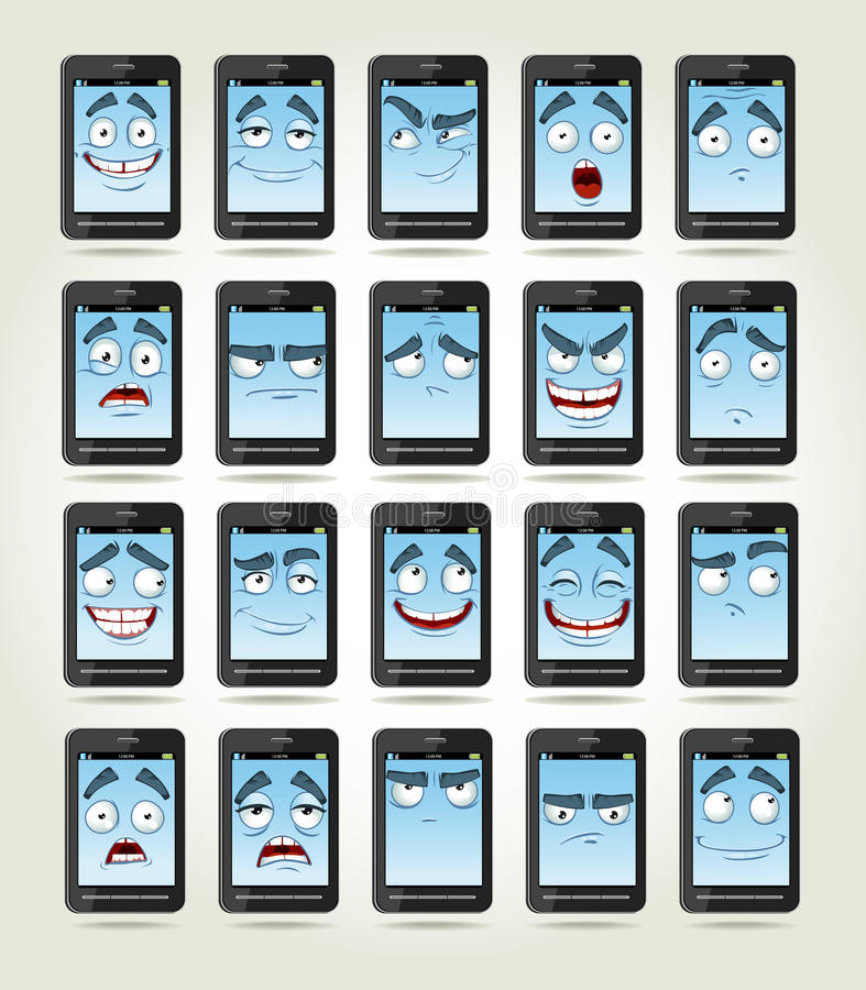 Conjunto de teléfonos de las sonrisas con diversas emociones ilustración del vector