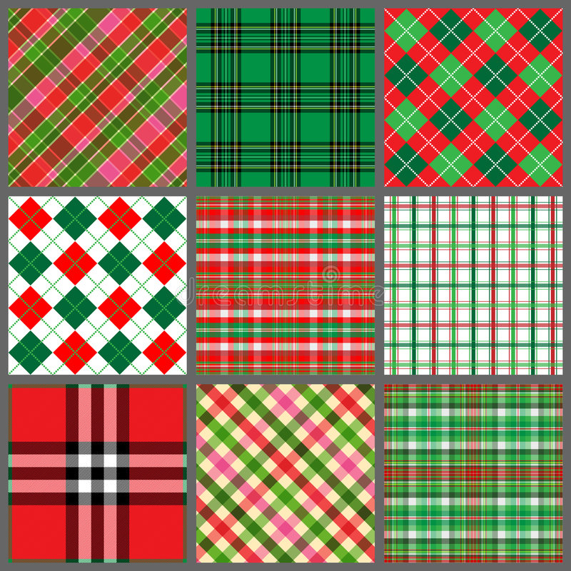 Conjunto de telas escocesas de la Navidad stock de ilustración