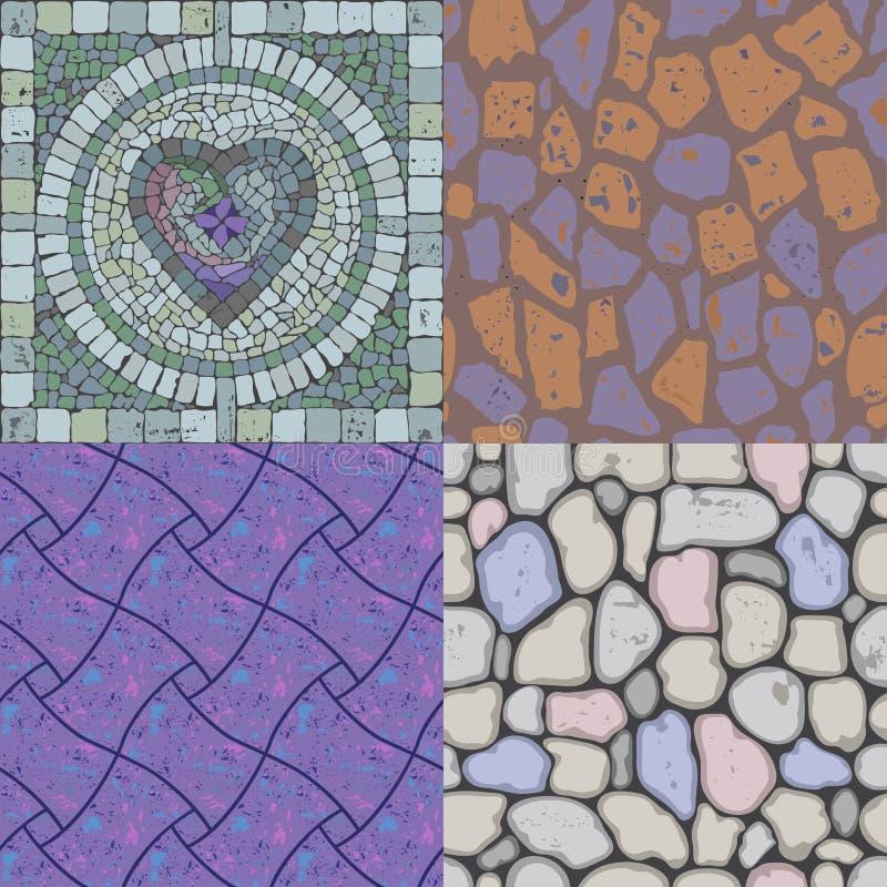 Conjunto de texturas de la piedra del suelo ilustración del vector