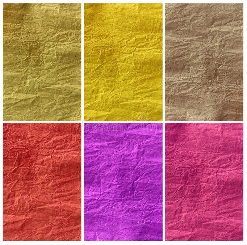 Conjunto de texturas de papel arrugadas imágenes de archivo libres de regalías