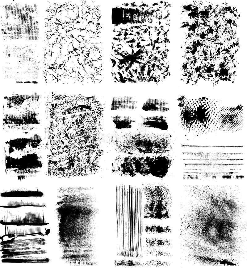 Conjunto de texturas del grunge ilustración del vector