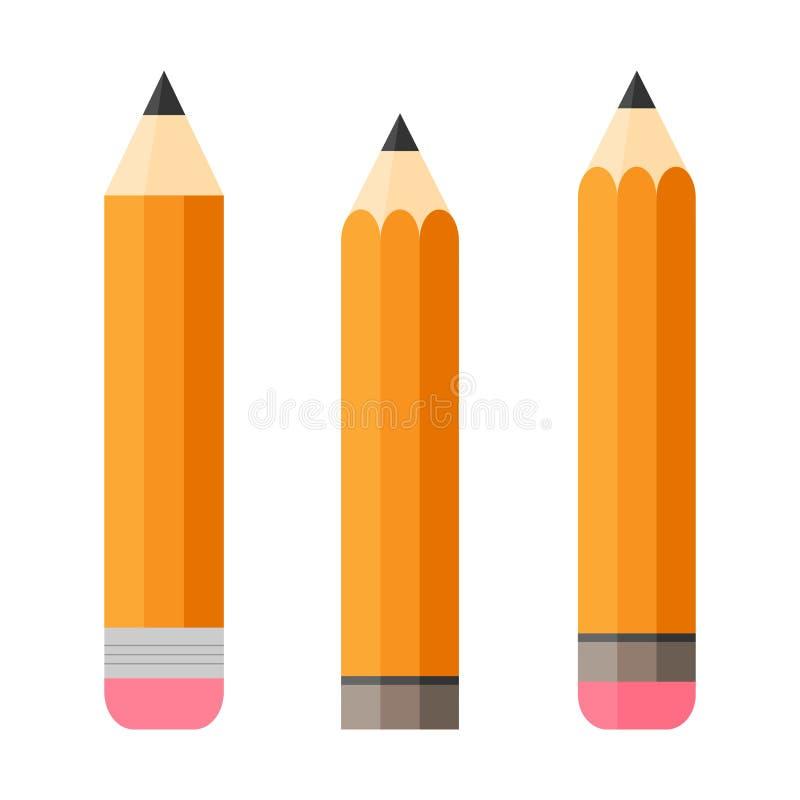 Conjunto de tres lápices Lápiz con el borrador Aislado Diseño plano ilustración del vector