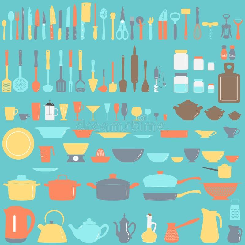 Conjunto de utensilios de la cocina stock de ilustración