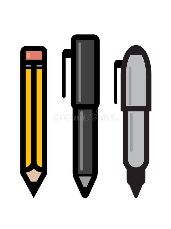 Conjunto de utensilios de la escritura stock de ilustración