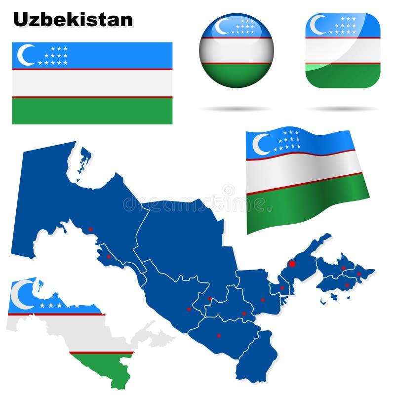 Conjunto de Uzbekistan. stock de ilustración