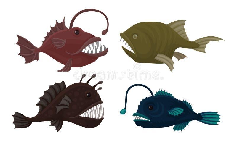 Conjunto de vectores de criaturas marinas profundas Pescado marino peligroso con dientes afilados ilustración del vector