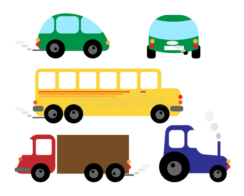 Conjunto de vehículos - coche, omnibus, alimentador ilustración del vector