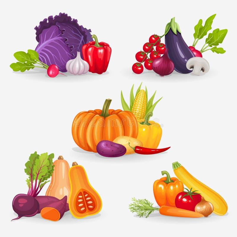 Conjunto de verduras frescas Ejemplo sano del vector de la comida libre illustration
