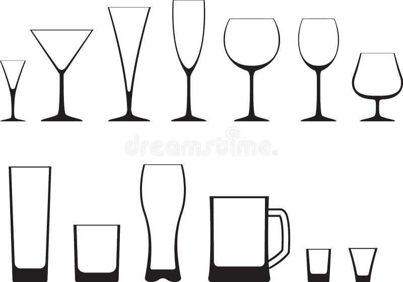 Conjunto de vidrios ilustración del vector