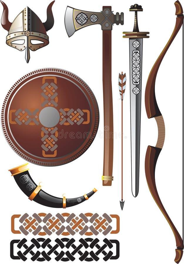 Conjunto de Vikingo stock de ilustración