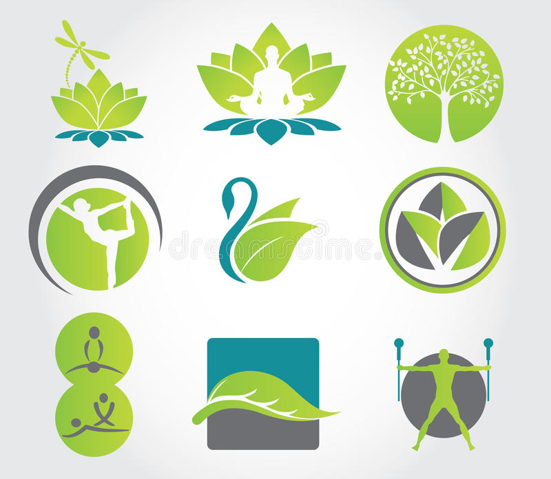 Conjunto de yoga y de aptitud, iconos coloridos Ilustración del vector stock de ilustración